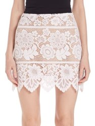 For Love And Lemons Gianna Lace Mini Skirt White Hot Red