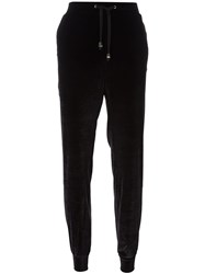 Versace Jeans Tapered Velour Track Pants Black