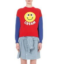 Mini Cream Smiley Face Knitted Sweatshirt Red