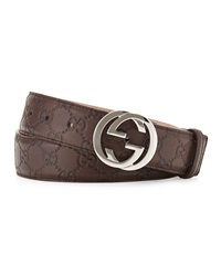 Gucci Interlocking G Buckle Leather Belt Chocolate