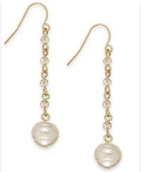 Lauren Ralph Lauren Gold Tone Pink Bead And Glass Pearl Linear Earrings