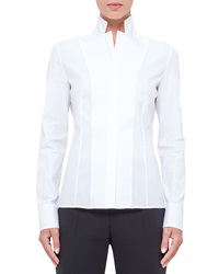 Akris Notched Stand Collar Stretch Cotton Blouse White