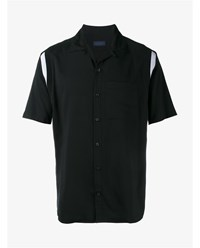 Lanvin Short Sleeved Shirt With Contrast Panels Black White Silver Grey