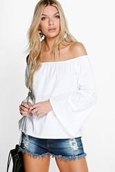Boohoo Off The Shoulder Flute Sleeve Top Cream