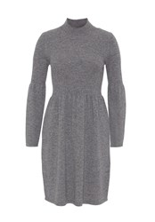 Hallhuber Knit Dress With Tall Stand Collar Grey