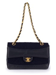 Chanel Vintage Quilted Double Chain Shoulder Bag Blue