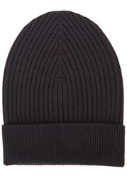 Dolce And Gabbana Black Ribbed Wool Beanie