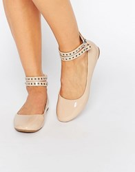 Daisy Street Multi Ankle Strap Nude Flat Shoes Nude Patent Beige