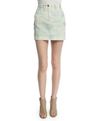 Roberto Cavalli High Waist Denim Mini Skirt W Lace Up Back Light Blue Women's