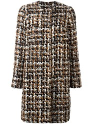 Dolce And Gabbana Tweed Coat Brown