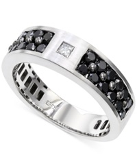 Effy Collection Effy Men's Black And White Diamond 1 1 6 Ct. T.W. Ring In 14K White Gold