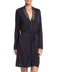 Eberjey Everly Lace Trim Short Robe Infinity Blue