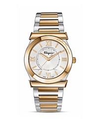 Salvatore Ferragamo Vega Silver Sunray Dial Watch 38Mm Silver Gold
