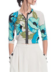 Tracy Reese Monochrome Zip Front Cardigan Blue