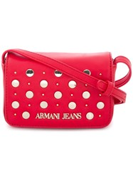 Armani Jeans Studded Mini Crossbody Bag Red