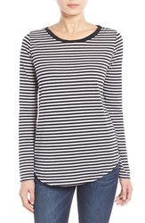 Women's Stem Stripe Relaxed Fit Tee Black Sara Stripe