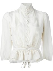 Dsquared2 'Victorian' High Collar Blouse Nude Neutrals