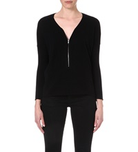 The Kooples Wool And Cashmere Sweater With Zip Neck Black