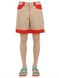 Au Jour Le Jour Two Tone Cotton Drill Shorts