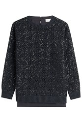 Brunello Cucinelli Sequin Cashmere Pullover With Wool Blue