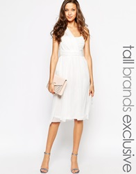 True Decadence Tall One Shoulder Soft Midi Prom Dress Cream