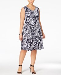 Jm Collection Woman Jm Collection Plus Size Printed Fit And Flare Dress Only At Macy's Noir Floral