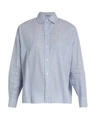 Vince Striped Linen And Cotton Blend Shirt Light Blue