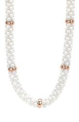 Women's Lagos 'White Caviar' 7Mm Beaded Station Necklace White Caviar Rose Gold
