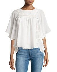 Dex Dolman Sleeve Lace Trim Chiffon Top Ivory