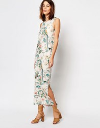 Warehouse Bird Print Column Midi Dress Cream