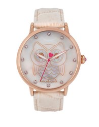 Betsey Johnson Owl Motif Rose Goldtone Beige Leather Strap Watch