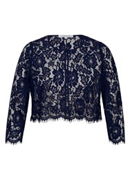 Chesca Scallop Trim Lace Jacket Navy