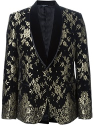 Dolce And Gabbana Floral Brocade Dinner Jacket Black