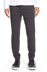Men's Michael Kors Leather Trim Jogger Pants Charcoal Melange