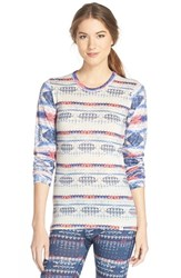 Women's Helly Hansen Print Long Sleeve Wool Top Microlandscape White