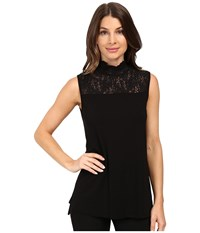 Vince Camuto Sleeveless Top With Lace Mock Neck And Yoke Rich Black Women's Clothing