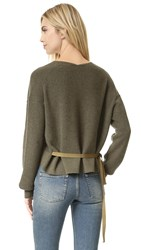 Helmut Lang V Neck Sweater Olive