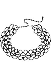 Kenneth Jay Lane Gunmetal Plated Crystal Choker Silver