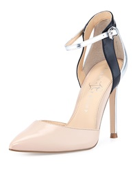Ivanka Trump Gees Ankle Wrap Pump Malted Milk Black Silver