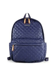 M Z Wallace Metro Quilted Nylon Backpack Navy