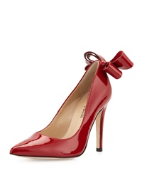 Neiman Marcus Verity Patent Bow Pump Red