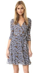 Diane Von Furstenberg Irina Wrap Dress Ribbon Rectangles Khaki