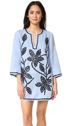 Tory Burch Solid Embroidered Tunic Blue Lupine