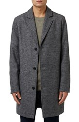 Topman Men's Wool Blend Overcoat Grey