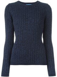 Mih Jeans 'Moonstone' Ribbed Knit Jumper Blue