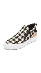 Msgm Platform Tweed Slip On Sneakers Black White