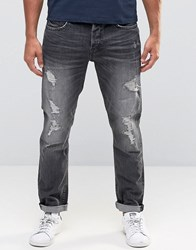 Only And Sons Jeans In Regular Fit With Rip Repair Detail Dark Grey