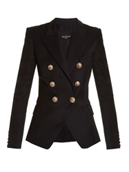 Balmain Six Button Double Breasted Wool Blazer Black