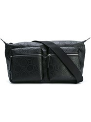 Salvatore Ferragamo Embossed Logo Shoulder Bag Black