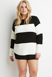 Forever 21 Chunky Knit Striped Sweater Cream Black